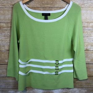 Green and White Top